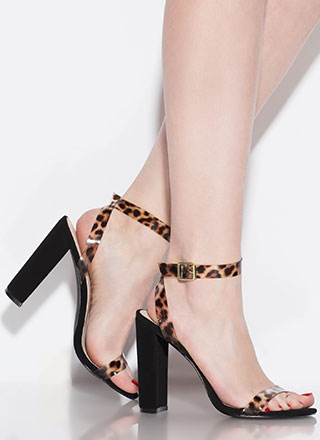 Cool Touch PVC Strap Chunky Heels