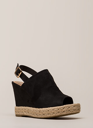 Vacation Time Jute Trim Peep-Toe Wedges
