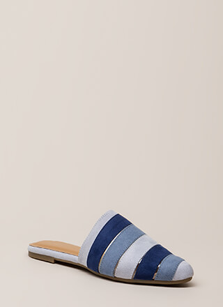 Bring Me My Slippers Striped Mule Flats