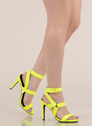 All Harnessed In Strappy Caged Heels