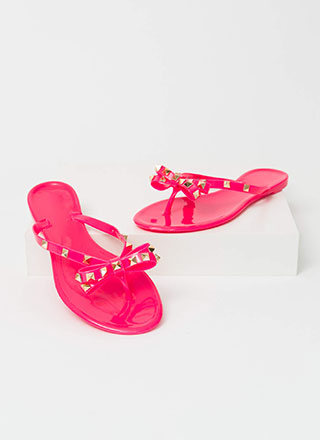 Bow Is Me Studded Jelly Thong Sandals