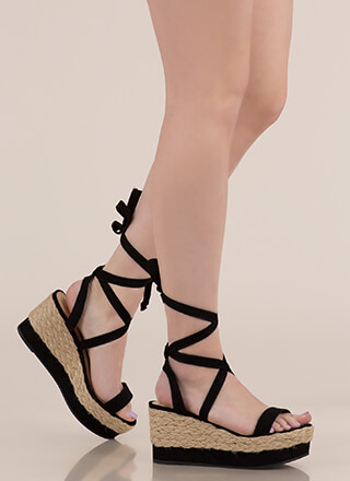 4b17e71ff87 Braided Beauty Lace-Up Platform Wedges