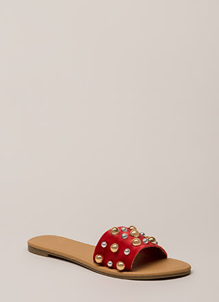 Blow Bubbles Velvet Slide Sandals