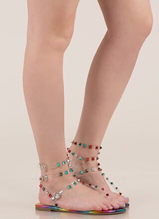 Hot Studs Strappy Caged Sandals