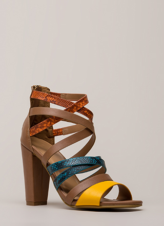 A Little Snake Chunky Strappy Heels