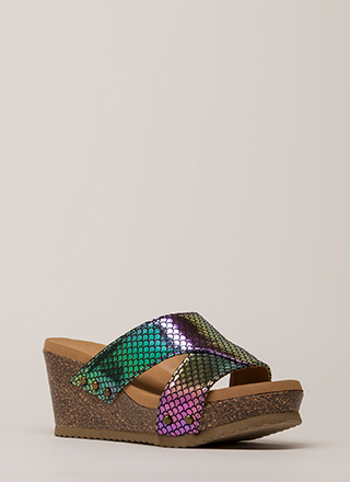 Outtie Holographic Fishscale Mule Wedges