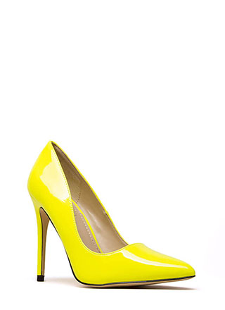 Gloss Lady Pointy Faux Patent Pumps