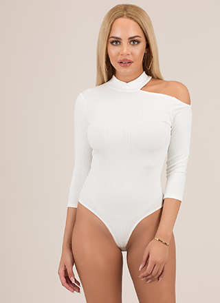 I'll Shoulder It Cut-Out Thong Bodysuit