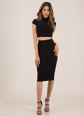 Solid Recommendation Top And Skirt Set