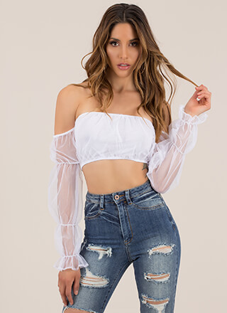 So Enamored Sheer Puffy Sleeve Crop Top