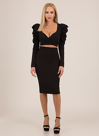 Wrap Show Puffy Sleeve 2-Piece Dress