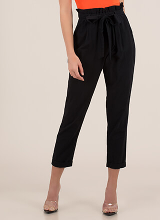 Cute Accent Tied Paper-Bag Trousers