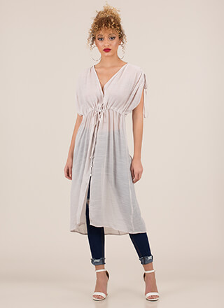 Light And Airy Buttoned Drawstring Top