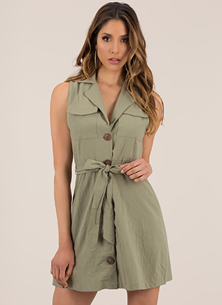Casual Friend Tied Button-Up Minidress
