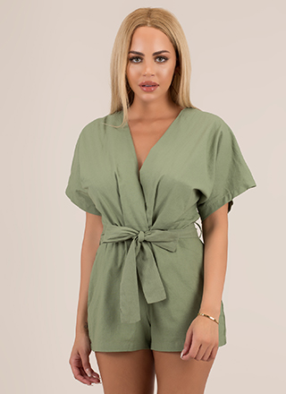 It's A Beautiful Day Tied Cotton Romper
