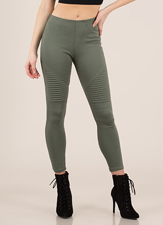 Speedster Pleated Cotton Skinny Pants