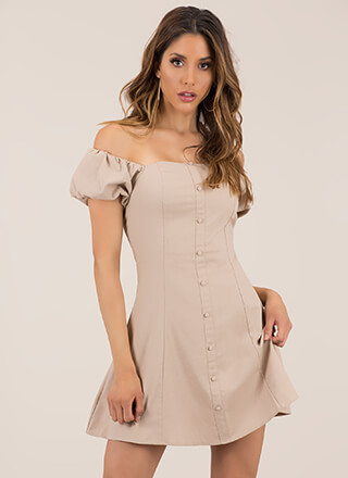Sweet Victory Puffy Off-Shoulder Dress