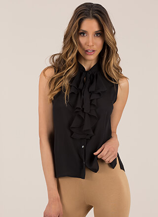 Tie It Again Ruffled Sleeveless Blouse