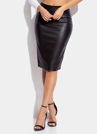 Pencil Me In Faux Leather Midi Skirt