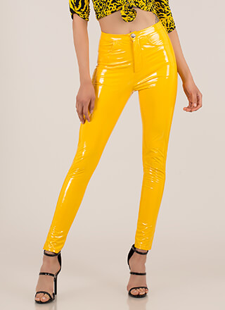 Gloss Lady Faux Patent Skinny Pants