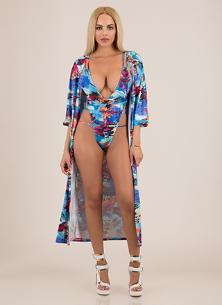 Hot Damn Strappy Swimsuit And Duster Set