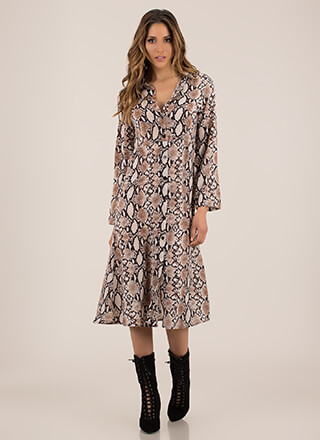 For Goodness Snake Button-Up Shirt Dress