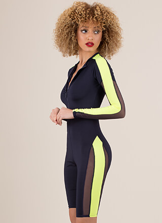 Dive In Sporty Mesh Contrast Romper