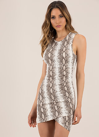 Let's Snake On It Tulip Hem Minidress