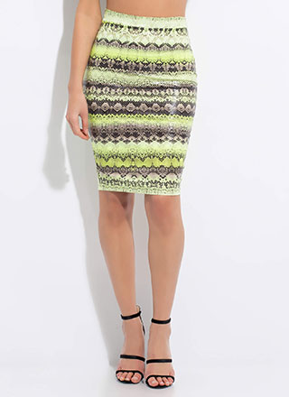 Snake Tale Reptile Print Pencil Skirt