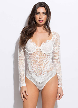 Bat Your Eyelashes Floral Lace Bodysuit