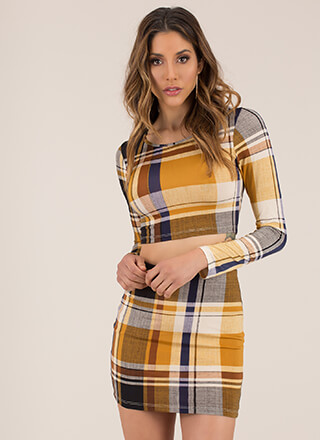 In Plaid We Trust Top And Skirt Set