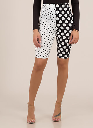 Spotted In Polka Dots Print Biker Shorts