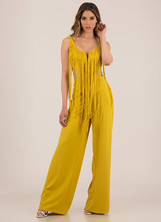 Fringe Fan Cut-Out Palazzo Jumpsuit
