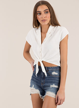 Easy Breezy Tied Button-Up Crop Top