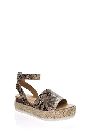 Vacation Time Snake Print Wedge Sandals