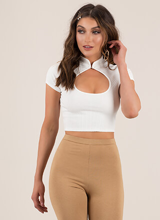 Friend Circle Ribbed Cut-Out Crop Top