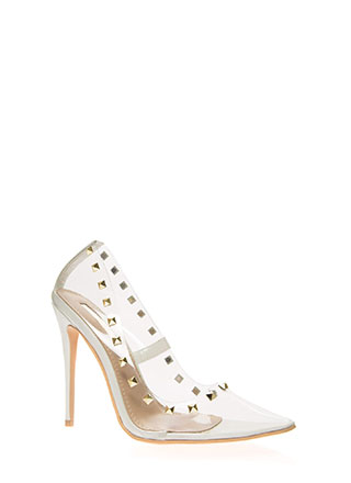 Clearly Edgy Studded Pointy Pumps