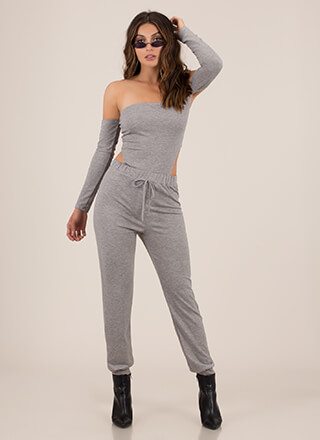 Peek Out Bodysuit And Jogger Set