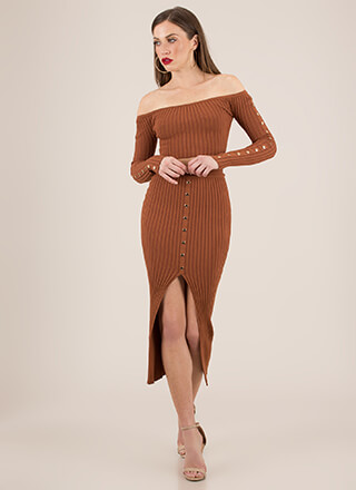 Hot Button Ribbed Top And Skirt Set