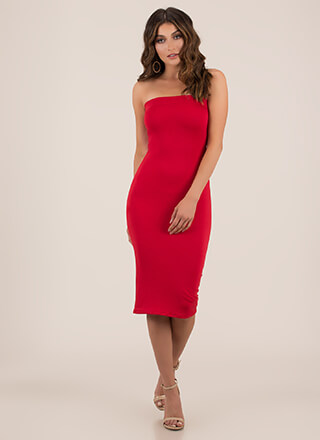 One Tube Three Strapless Midi Dress
