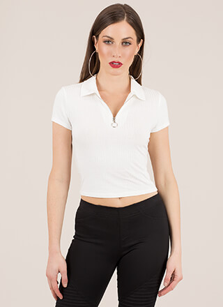 Let It Ring Ribbed Zip-Front Top