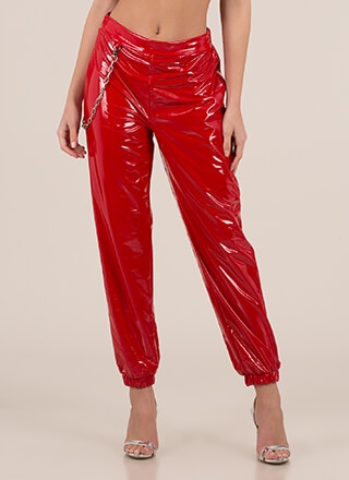 Baddie Chained Faux Patent Joggers
