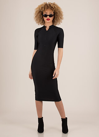 Ready To Go Zip-Front Nylon Midi Dress