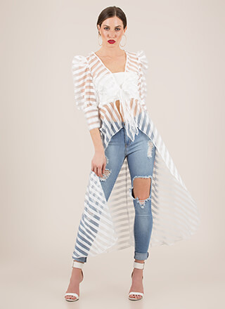 Striped Sensation Shadow Mesh Duster