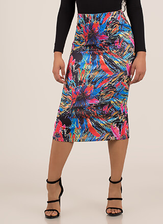 I Felt Fireworks Abstract Midi Skirt