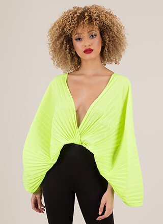 Act Accordionly Pleated Winged Crop Top