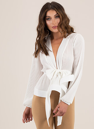 Pretty Pleats Bow-Front Peplum Top