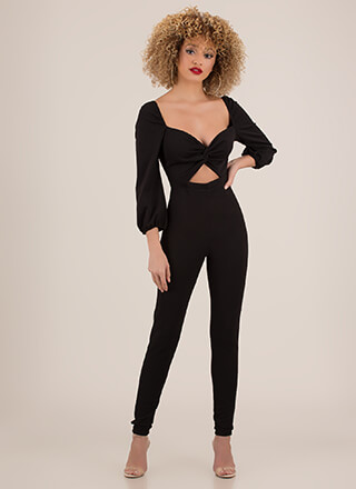 Twisted Love Cut-Out Sweetheart Jumpsuit