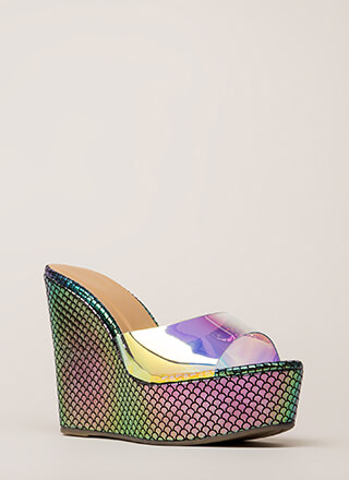 Plenty Of Fishscale Clear Mule Wedges