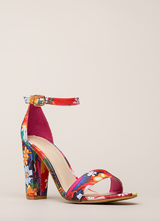 Find My Prints Chunky Ankle Strap Heels